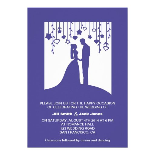 Navy blue bride and groom silhouettes wedding custom invitation