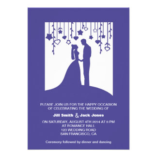 Navy blue bride and groom silhouettes wedding custom invitation