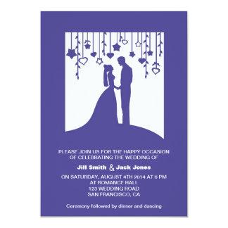 Navy blue bride and groom silhouettes wedding 13 cm x 18 cm invitation card