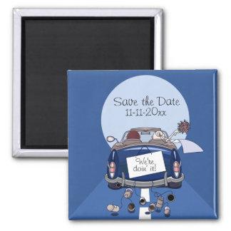 Navy Blue Bride & Groom Getaway Car Save the Date Square Magnet