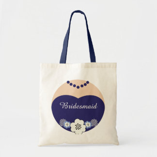 Navy Blue Bridesmaid Wedding Tote Budget Tote Bag