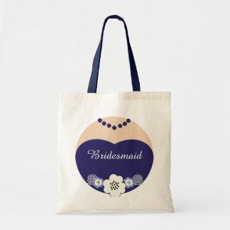 Navy Blue Bridesmaid Wedding Tote Budget Tote Bag