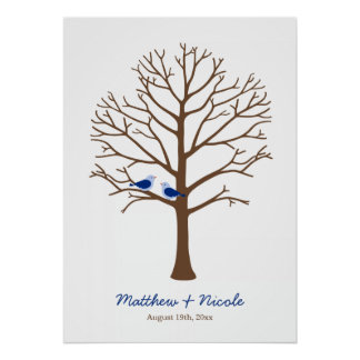 Navy Blue Brown Birds Fingerprint Tree Wedding Poster