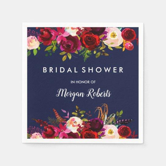 Navy Blue Burgundy Red Boho Floral Bridal Shower Disposable Serviettes