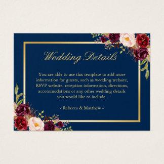 Navy Blue Burgundy Red Floral Wedding Enclosure Business Card