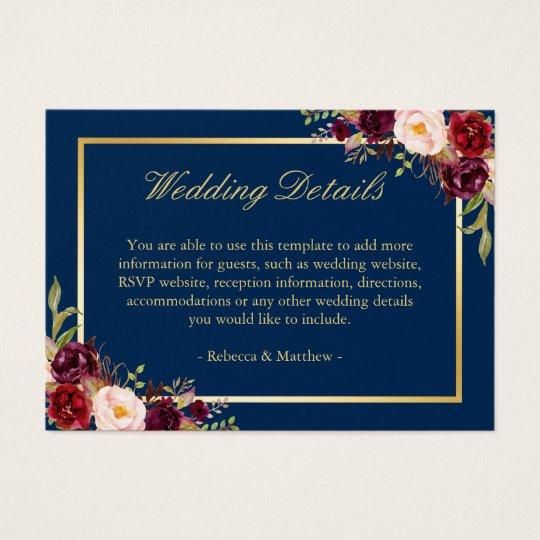 Navy Blue Burgundy Red Floral Wedding Enclosure Business