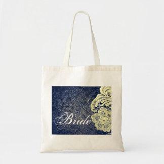 navy blue burlap lace rustic vintage bride budget tote bag