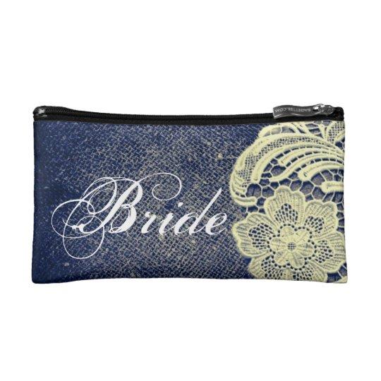 navy blue burlap lace rustic vintage bride makeup