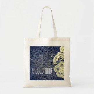 navy blue burlap lace rustic wedding bridesmaid canvas bag