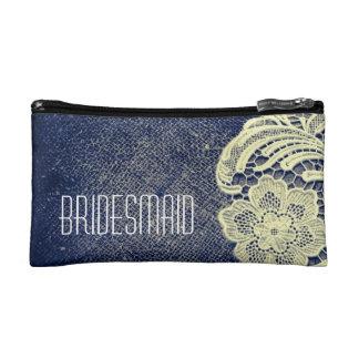navy blue burlap lace rustic wedding bridesmaid makeup bags