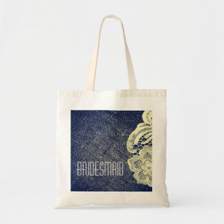 navy blue burlap lace rustic wedding bridesmaid budget tote bag