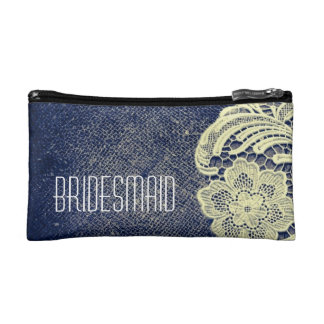 navy blue burlap lace rustic wedding bridesmaid cosmetic bags