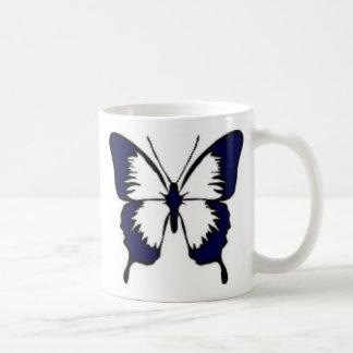 Navy Blue Butterfly Basic White Mug