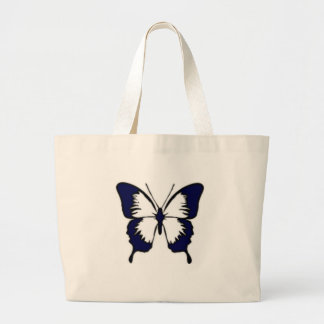 Navy Blue Butterfly Tote Bag