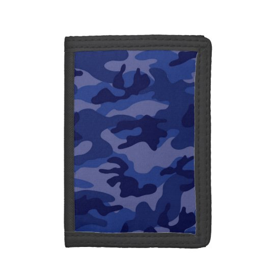Navy Blue Camo, Camouflage Tri-fold Wallet