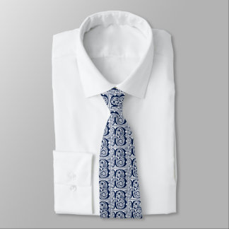 Navy Blue Celtic Manuscript Letter B Old English Tie
