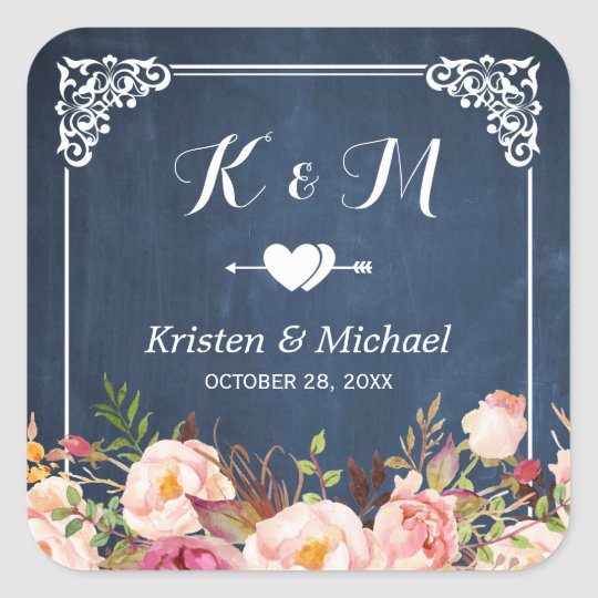 Navy Blue Chalkboard Floral Wedding Favour Square Sticker