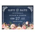 Navy Blue Chalkboard Floral Wedding Save the Date Postcard
