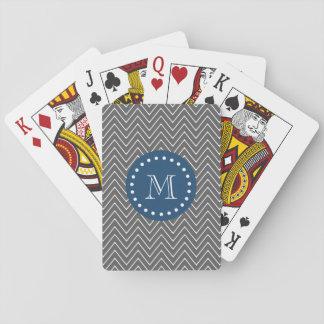 Navy Blue, Charcoal Gray Chevron Pattern Poker Deck