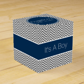 Navy Blue & Charcoal Gray Chevrons Baby Shower Wedding Favor Box