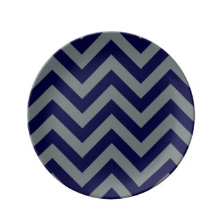 Navy Blue, Charcoal Large Chevron ZigZag Pattern Plate