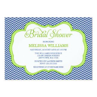 Navy Blue Chevron Green Frame Bridal Shower 13 Cm X 18 Cm Invitation Card