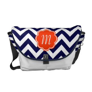 Navy Blue Chevron Monogram Messenger Bag