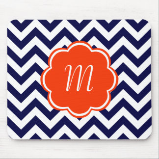 Navy Blue Chevron Monogram Mouse Pad