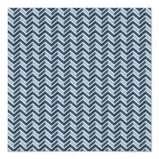 Navy Blue Chevron Pattern 13 Cm X 13 Cm Square Invitation Card