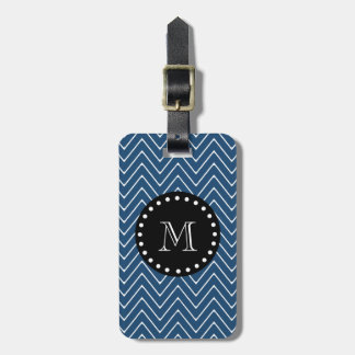 Navy Blue Chevron Pattern | Black Monogram Luggage Tag