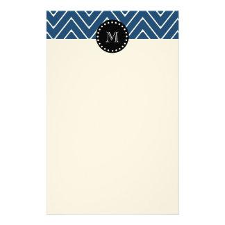 Navy Blue Chevron Pattern | Black Monogram Stationery