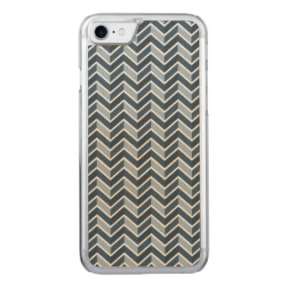 Navy Blue Chevron Pattern Carved iPhone 7 Case