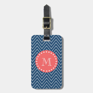 Navy Blue Chevron Pattern | Coral Monogram Luggage Tag