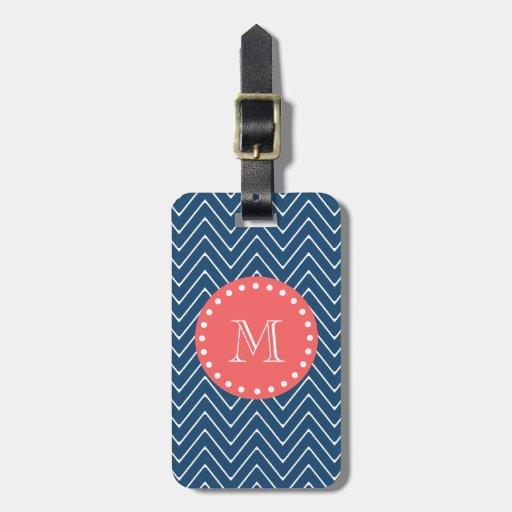 Navy Blue Chevron Pattern | Coral Monogram Travel Bag Tags