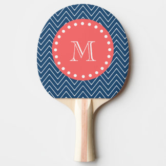 Navy Blue Chevron Pattern | Coral Monogram Ping Pong Paddle