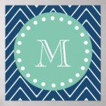 Navy Blue Chevron Pattern | Mint Green Monogram