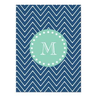 "Navy Blue Chevron Pattern   Mint Green Monogram 6.5"" X 8.75"" Invitation Card"
