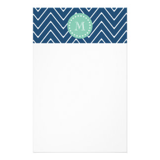Navy Blue Chevron Pattern | Mint Green Monogram Stationery