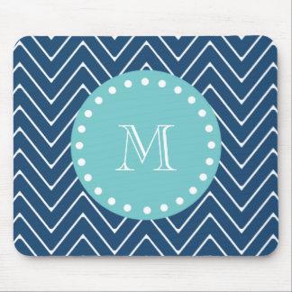 Navy Blue Chevron Pattern | Teal Monogram Mouse Pad