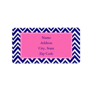 Navy Blue Chevron Pattern with Hot Pink Address Label