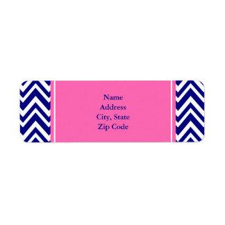 Navy Blue Chevron Pattern with Hot Pink Return Address Label