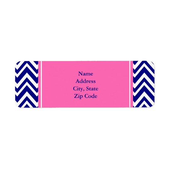 Navy Blue Chevron Pattern with Hot Pink Return Address Label