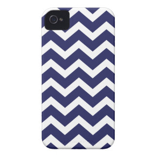 Navy Blue Chevron Stripe iPhone 4 Case-Mate Cases