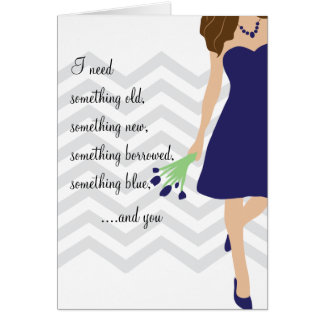 Navy Blue Chevron Will You Be My Bridesmaid Greeting Card