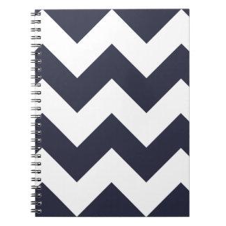 Navy Blue Chevron Zigzag Notepad Notebook