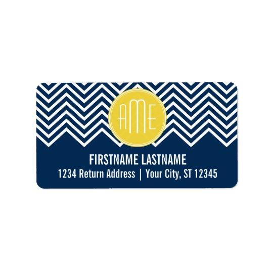 Navy Blue Chevrons with Custom Yellow Monogram Address Label
