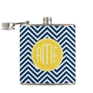 Navy Blue Chevrons with Custom Yellow Monogram Hip Flask