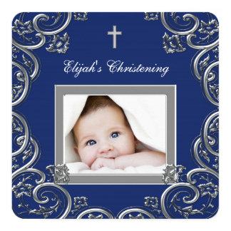 Navy Blue Christening Card