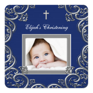 Navy Blue Christening Announcement Cards