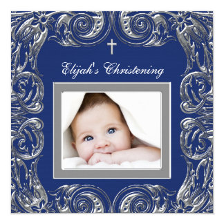 Navy Blue Christening Personalized Invitation Cards